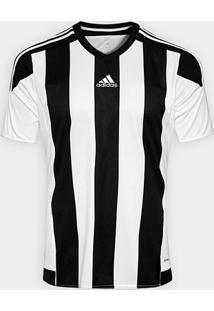 Camisa Adidas Striped 15 Masculina - Masculino-Branco+Preto