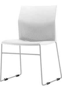 Cadeira Connect Assento Branco Base Fixa Cinza - 53765 Sun House