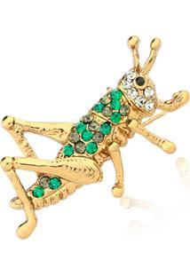 Broche Le Diamond Grilo Pequeno Dourado - Kanui