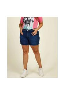 Bermuda Plus Size Feminina Jeans Barra Desfiada