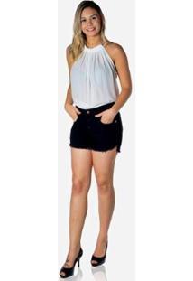 Short Dwz Jeans Lycra Barra Desfiada Feminina - Feminino