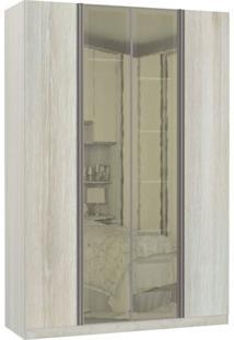 Guarda Roupa Modulado Espelhos Reflecta 4 Portas Emolduradas 3 Gavetas Nichos Colmeia 159Cm Prime Luciane Móveis Legno Crema