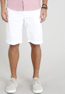 Bermuda De Sarja Masculina Com Cordão Branca