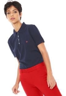 Camisa Polo Carmim Reta Logo Azul-Marinho