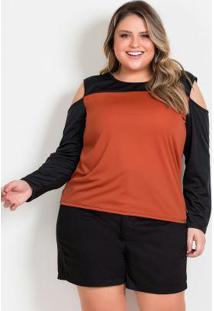 Blusa Preta E Terracota Com Recortes Plus Size