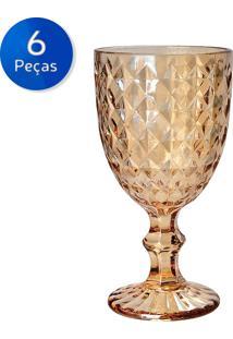Conjunto 6 Taças De Vidro 220 Ml Roman Ambar - Bon Gourmet - Transparente