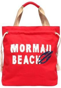 Bolsa Canvas Com Aplique Bordado Mormaii Feminina - Feminino-Vermelho