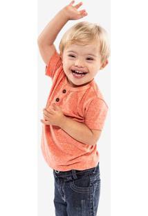 Camiseta Henley Laranja Niños 500064