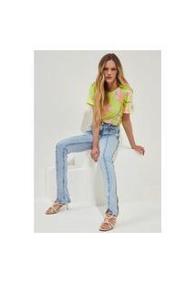 Calça Boot Cut Com Detalhe Lança Perfume Jeans Azul