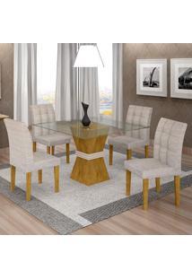 Conjunto De Mesa De Jantar Com 4 Cadeiras Vitória Suede Ypê E Cinza