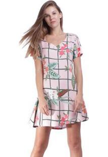 Vestido Amazonia Vital Curto Acinturado Floral Feminino - Feminino-Rosa Claro