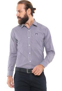 Camisa Mr Kitsch Reta Listrada Azul/Branca