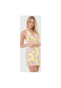 Vestido Lança Perfume Curto Floral Torção Amarelo/Rosa