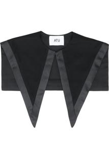 Atu Body Couture Oversized Silk Collar - Preto