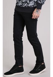 Calça Jeans Masculina Skinny Em Algodão + Sustentável Preta