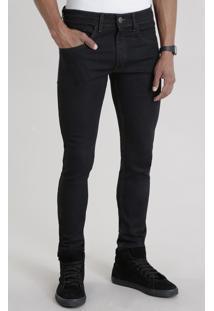 Calça Jeans Skinny Com Algodão + Sustentável Preta