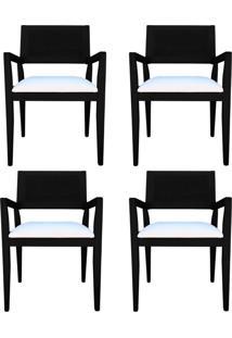 Kit 4 Cadeiras Decorativas Sala De Jantar Megan Preto Linho Bege - Gran Belo