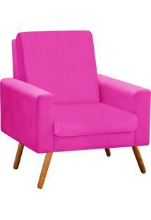 Poltrona Decorativa Beatriz Suede Pink Com Pés Palito - D'Rossi