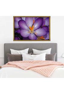 Quadro Love Decor Com Moldura Violetas Dourado Grande