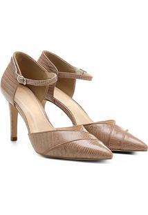 Scarpin Couro Shoestock Salto Alto Bico Fino Semi Aberto Lizard - Feminino-Nude