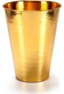 Lixeira Gold Plus Latão Cromado Dourado 5 Litros Banho Mais