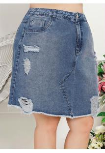 Saia Plus Size Jeans Escuro Com Puídos