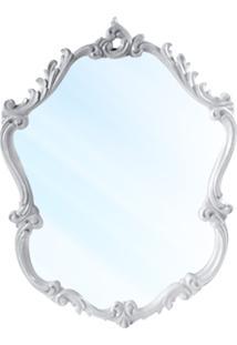 Espelho Cris Entalhado Em Resina E Pintura Em Laca Branca