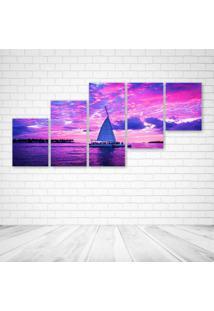 Quadro Decorativo - Pink Boats Clouds Ocean Sailing Sea - Composto De 5 Quadros