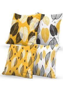 Kit 4 Capas De Almofadas Decorativas Own Amarela Folhas 45X45 - Somente Capa