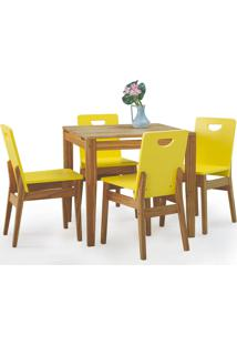 Mesa De Jantar 4 Cadeiras Tucupi 80Cm - Acabamento Nozes E Laca Amarelo
