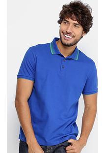 Camisa Polo Calvin Klein Piquet Friso Contraste Masculina - Masculino