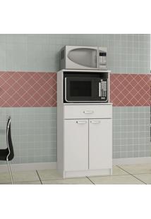 Armário Multiuso De Cozinha Para Forno 2 Portas 1 Gaveta Dublim Evidência Móveis Branco