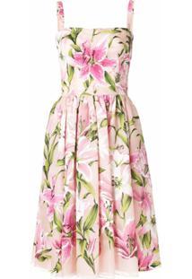 Dolce & Gabbana Vestido Floral Evasê - Rosa