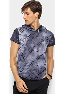 Camiseta Watkins & Krown Capuz Destroyed Masculina - Masculino-Azul