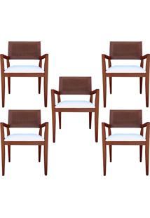 Kit 5 Cadeiras Decorativas Sala De Jantar Megan Imbuia Linho Bege - Gran Belo
