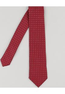 Gravata Masculina Em Jacquard Com Mini Print Vinho - Único