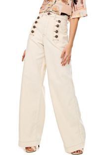 Calça Sarja Lez A Lez Pantalona Botões Off-White
