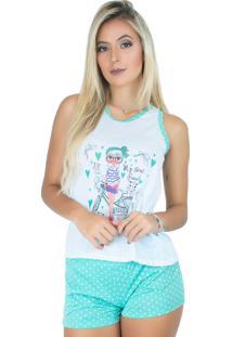 Pijama Mvb Modas Adulto Curto Bolinha Azul