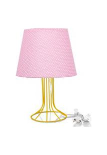 Abajur Torre Dome Rosa/Bolinha Com Aramado Amarelo