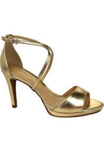 Sandália Metalizada Kult Feminina - Feminino-Dourado