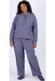Pijama Feminino Plus Size Atoalhado Com Capuz Manga Longa Azul