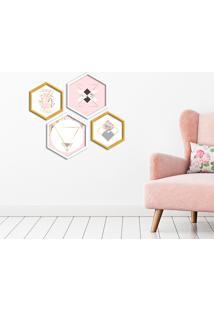 Kit 4 Quadros Com Moldura Hexagonal Abstract Pink