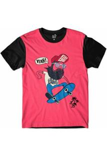 Camiseta Long Beach Barba Nose Grab Sublimada Masculina - Masculino-Vermelho+Preto