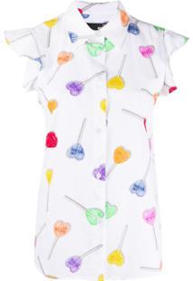 Love Moschino Blusa Com Estampa De Logo - Branco
