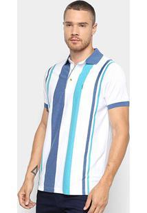 Camisa Polo Aleatory Fio Tinto Listrada Masculina - Masculino-Azul+Branco