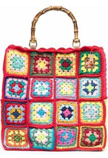 La Milanesa Bolsa Quadrada Com Recorte Em Crochê - Vermelho