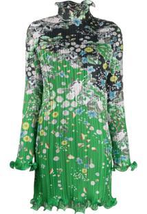 Givenchy Vestido Plissado Com Babados - Verde