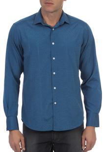 Camisa Social Colombo Detalhada Azul