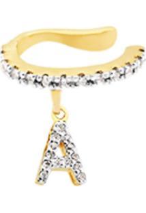 Brinco Piercing Personalizado Com Letra Cravejadas Banhado A Ouro 18K - Tricae