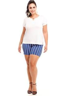Blusa Melinde Plus Size Reveillon Feminina - Feminino-Branco